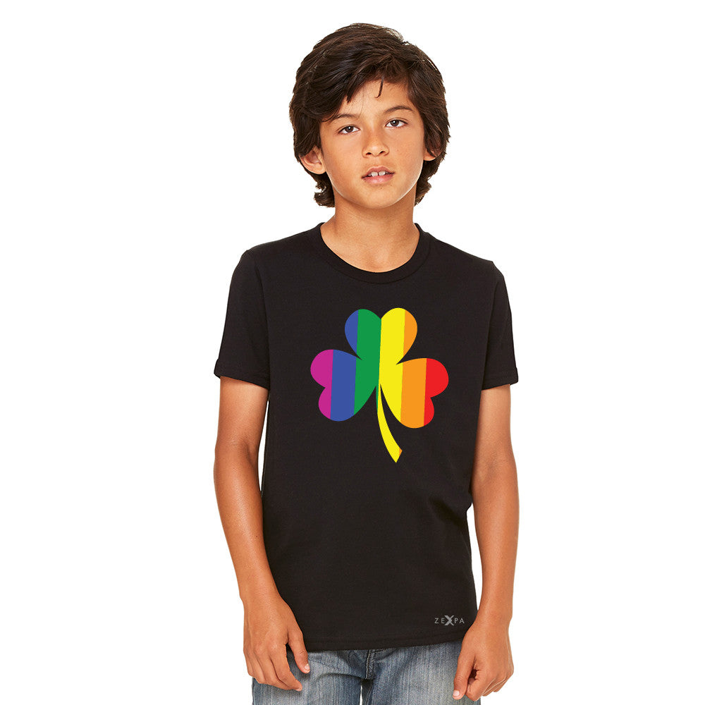 Gay Pride Rainbow Love Lucky Shamrock Youth T-shirt Pride Tee - Zexpa Apparel - 3