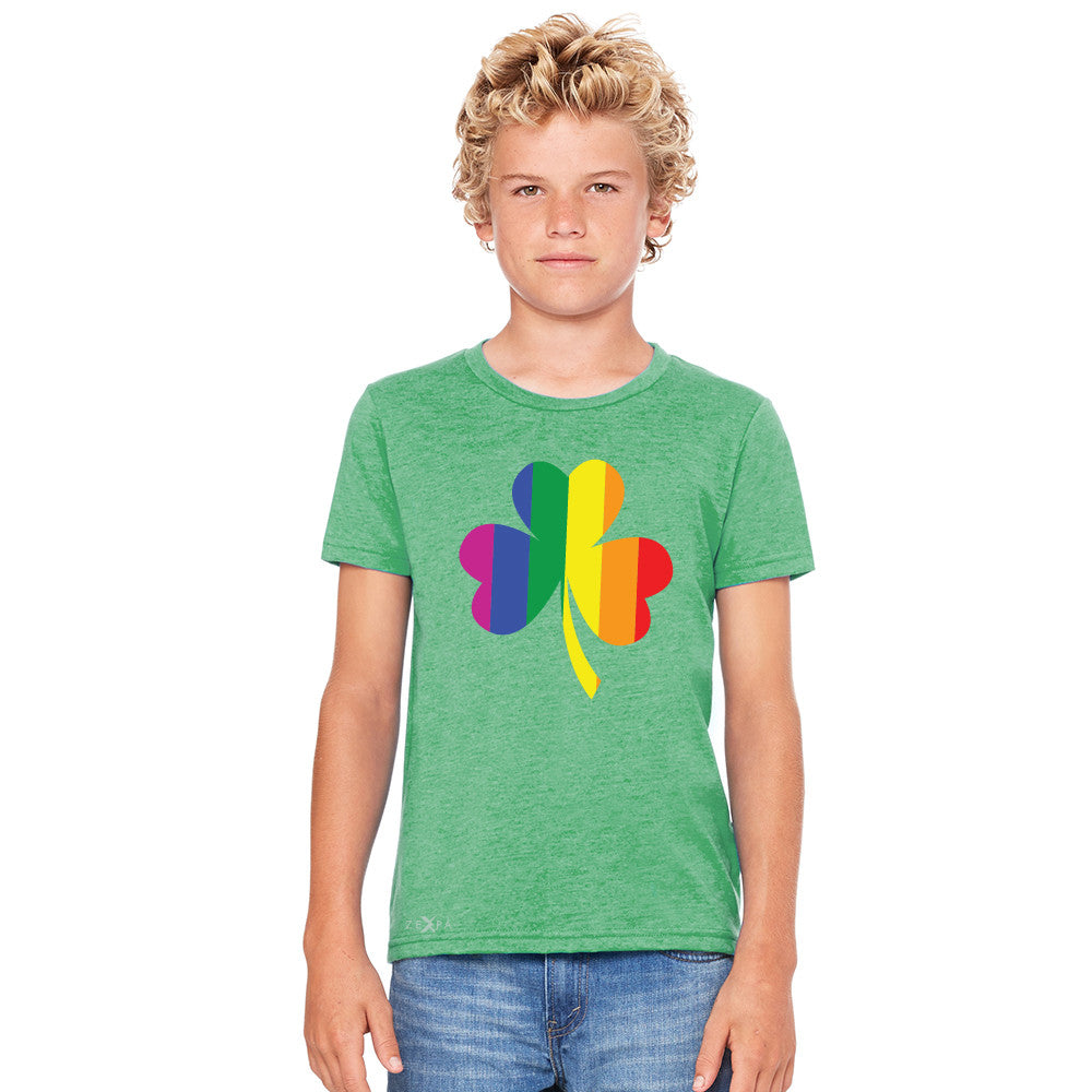 Gay Pride Rainbow Love Lucky Shamrock Youth T-shirt Pride Tee - Zexpa Apparel - 4