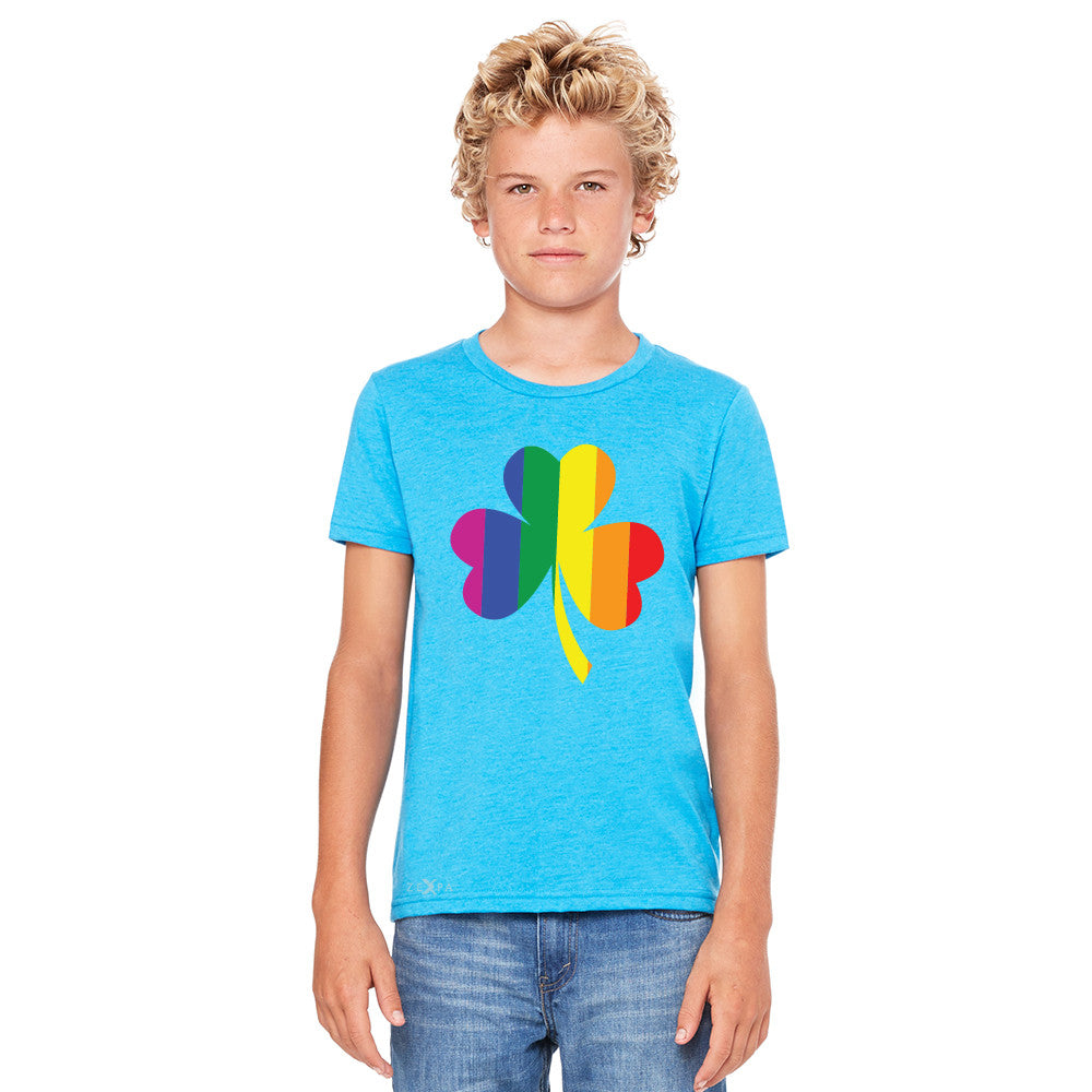 Gay Pride Rainbow Love Lucky Shamrock Youth T-shirt Pride Tee - Zexpa Apparel - 5