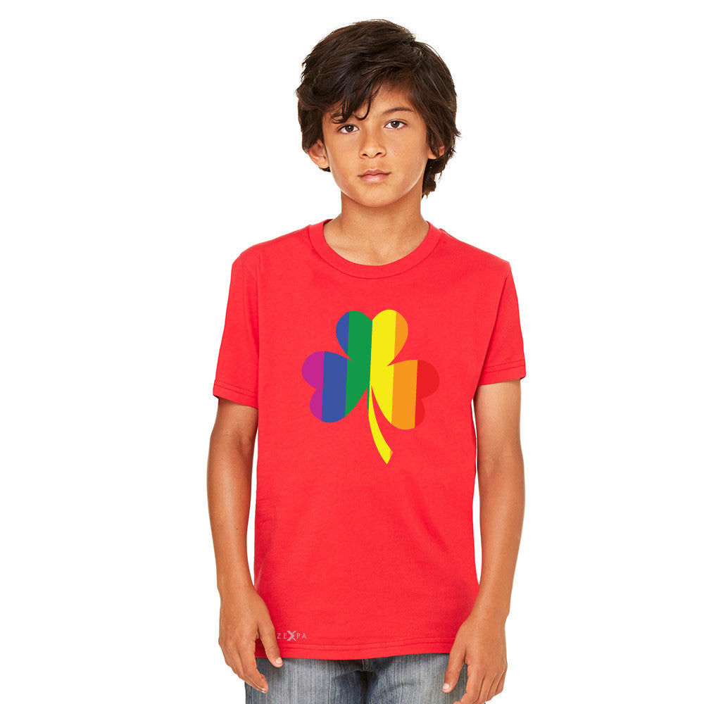 Gay Pride Rainbow Love Lucky Shamrock Youth T-shirt Pride Tee - Zexpa Apparel - 6