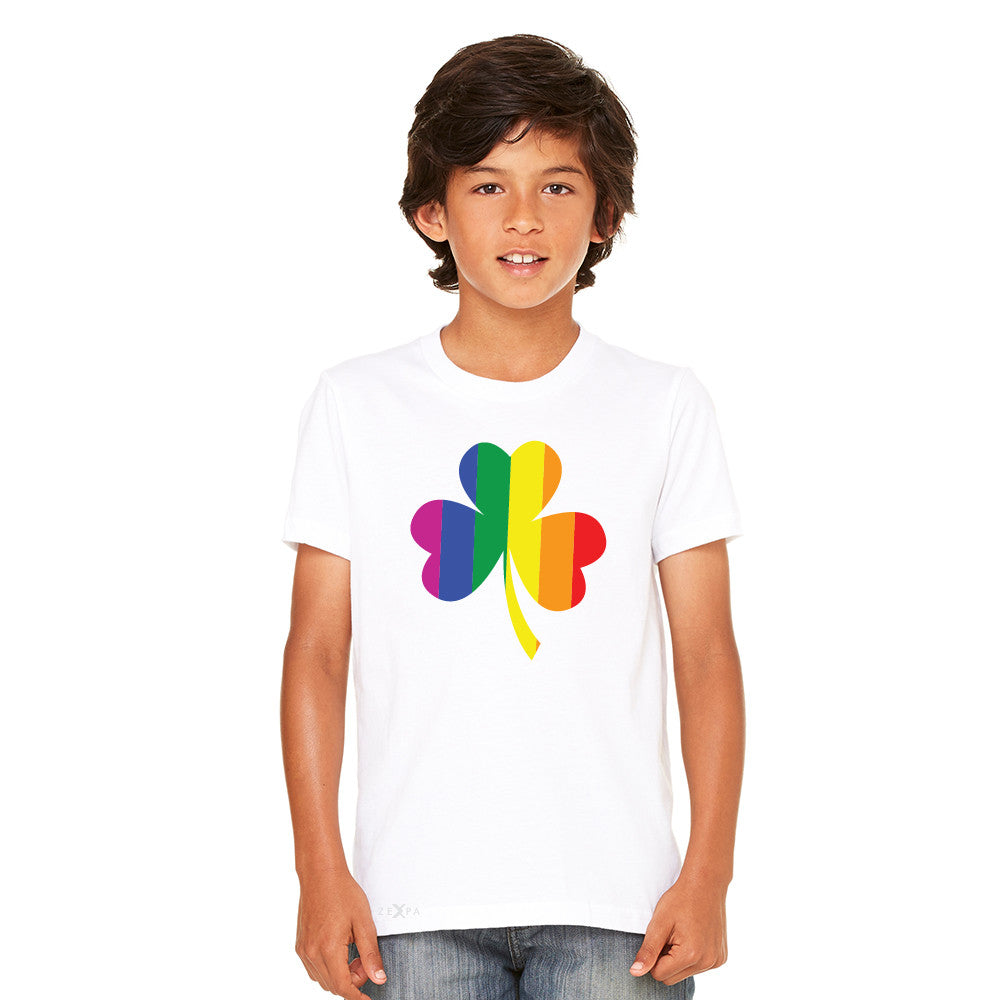 Gay Pride Rainbow Love Lucky Shamrock Youth T-shirt Pride Tee - Zexpa Apparel