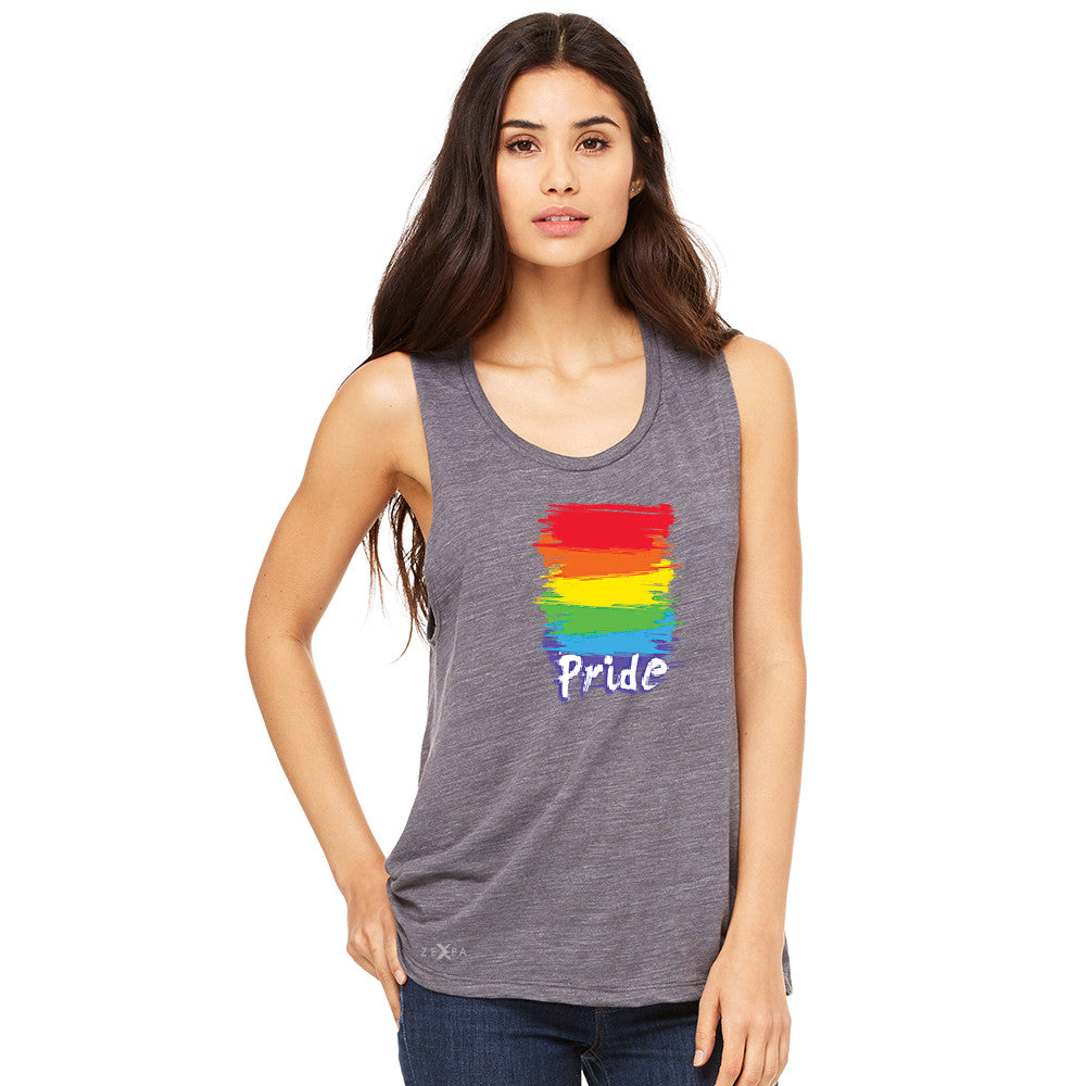 Gay Pride Rainbow Color Paint Cutest Women's Muscle Tee Pride LGBT Sleeveless - Zexpa Apparel