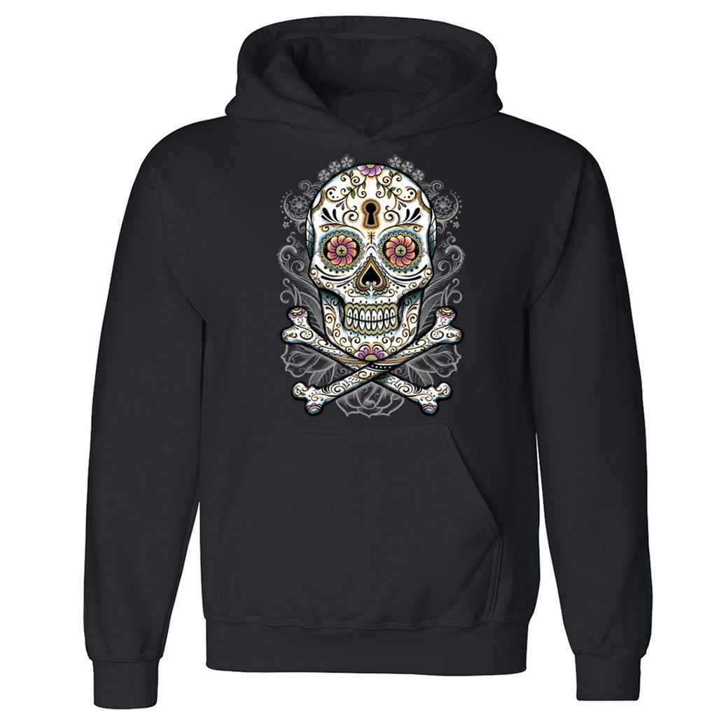 "Zexpa Apparelâ""¢ Floral Skull Unisex Hoodie Liquid Blue Day Of Dead Muertos Hooded Sweatshirt"
