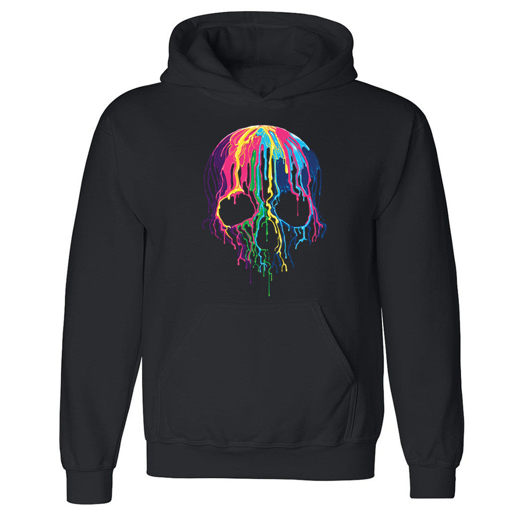 "Zexpa Apparelâ""¢ Melting Skull Neon Unisex Hoodie Colorful Day Of Dead Muertos Hooded Sweatshirt - Zexpa Apparel Halloween Christmas Shirts"