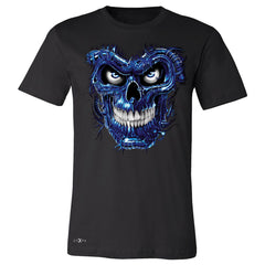 Blue Terminator Skull Men's T-shirt Sugar Day of The Death Tee - Zexpa Apparel Halloween Christmas Shirts