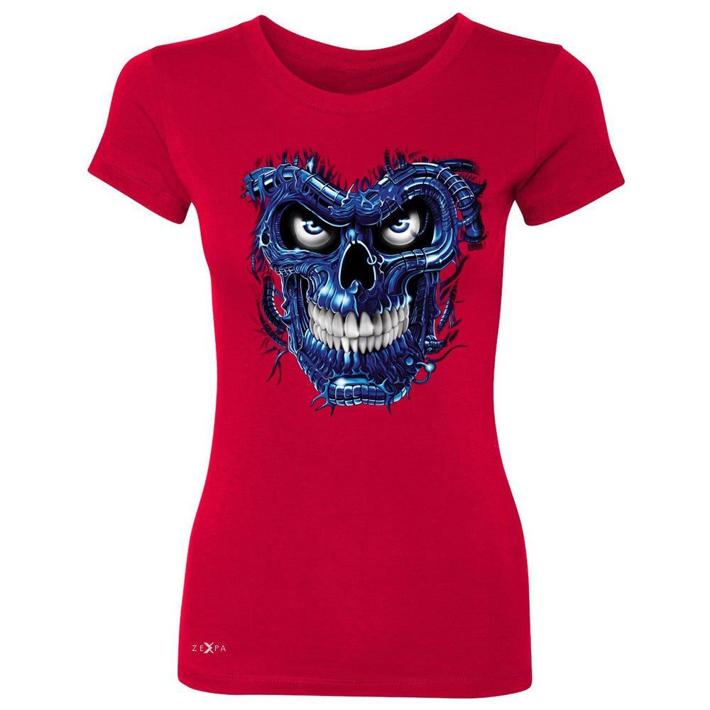 Blue Terminator Skull Women's T-shirt Sugar Day of The Death Tee - Zexpa Apparel Halloween Christmas Shirts