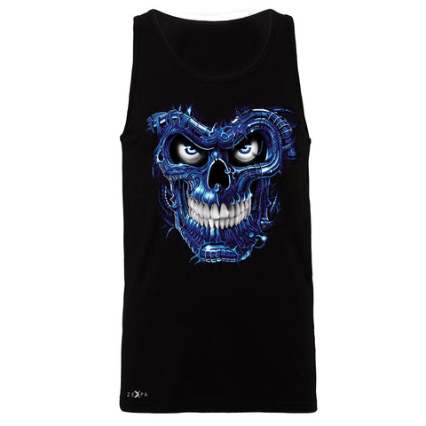 Blue Terminator Skull Men's Jersey Tank Sugar Day of The Death Sleeveless - Zexpa Apparel Halloween Christmas Shirts