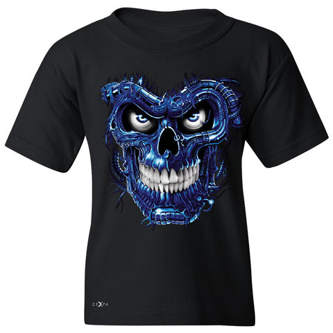 Blue Terminator Skull Youth T-shirt Sugar Day of The Death Tee - Zexpa Apparel Halloween Christmas Shirts