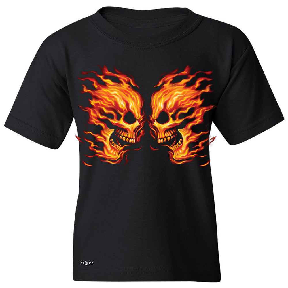 Flaming Face Off Biker  Youth T-shirt Ghost Rider Biker Cool Tee - Zexpa Apparel - 1