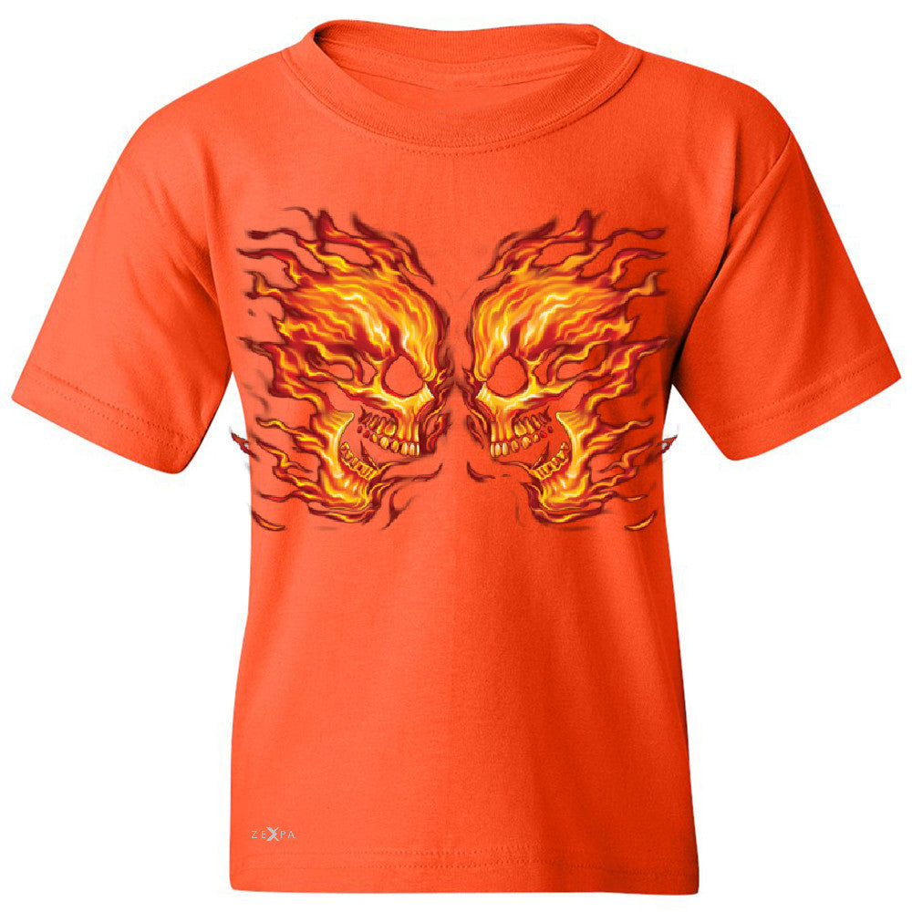 Flaming Face Off Biker  Youth T-shirt Ghost Rider Biker Cool Tee - Zexpa Apparel - 2
