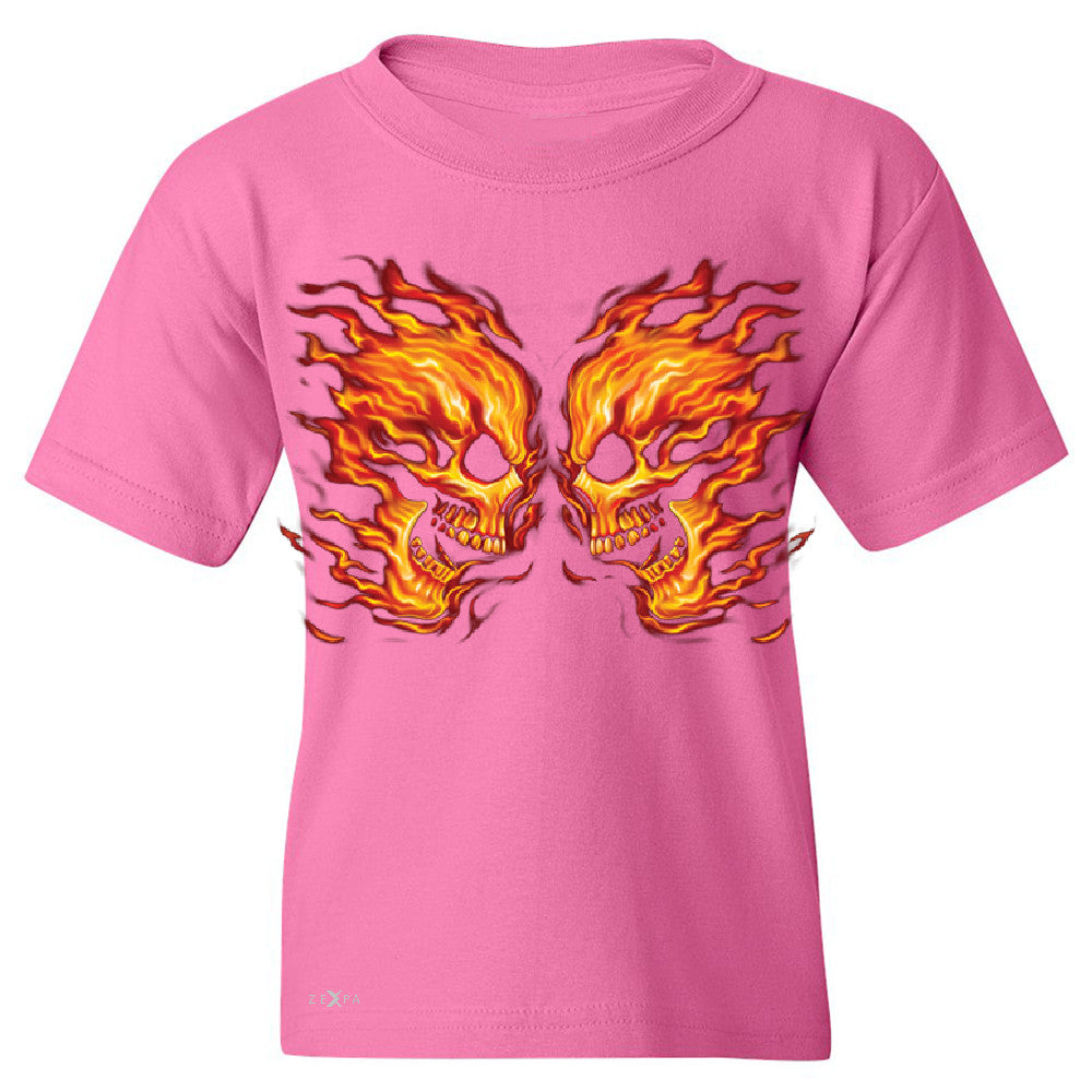 Flaming Face Off Biker  Youth T-shirt Ghost Rider Biker Cool Tee - Zexpa Apparel - 3