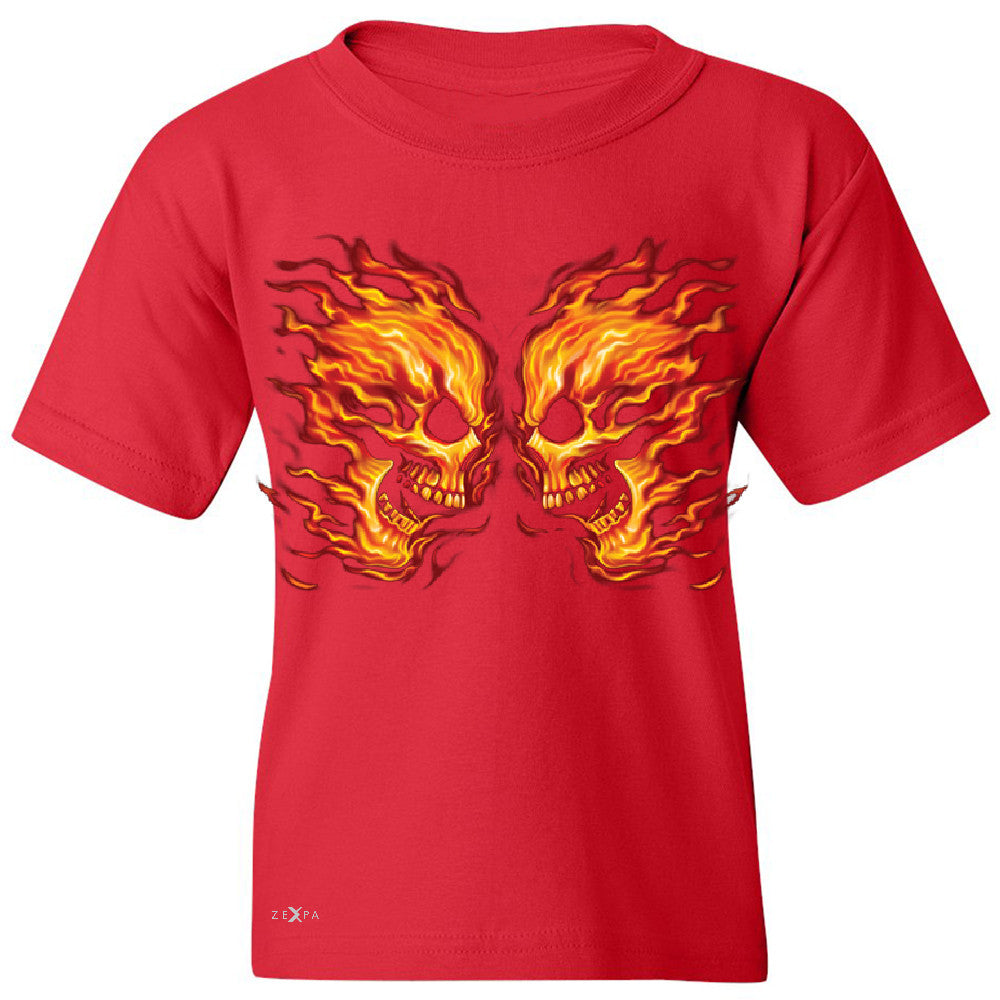 Flaming Face Off Biker  Youth T-shirt Ghost Rider Biker Cool Tee - Zexpa Apparel - 4