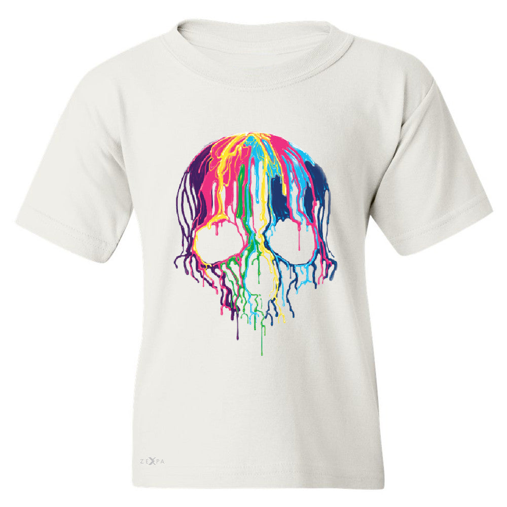"Zexpa Apparelâ""¢ Melting Skull Neon Youth T-shirt Dripping Skeleton Paint Tee - Zexpa Apparel Halloween Christmas Shirts"