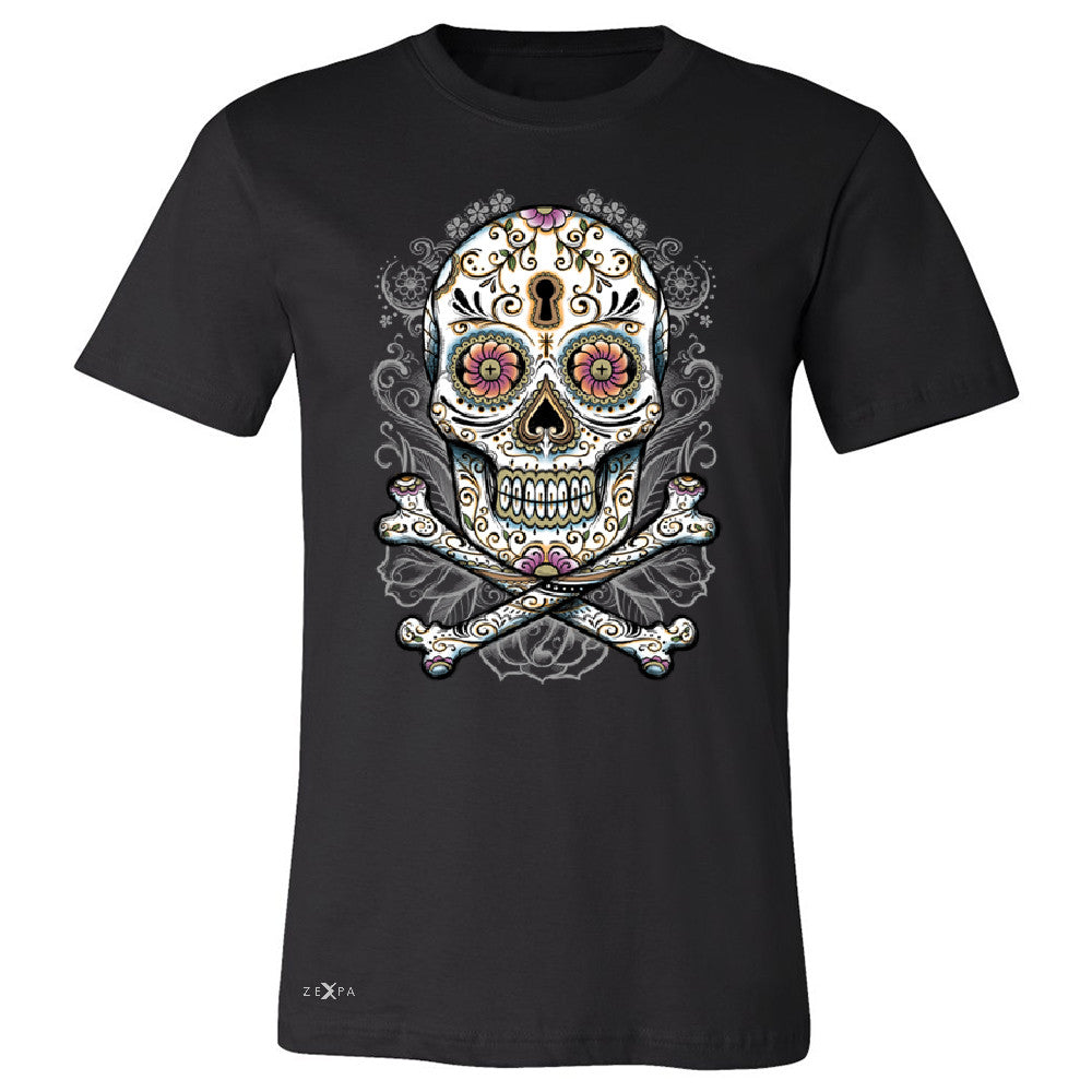 Floral Skull Men's T-shirt Dia de Muertos Sugar Day of The Dead Tee - Zexpa Apparel - 1