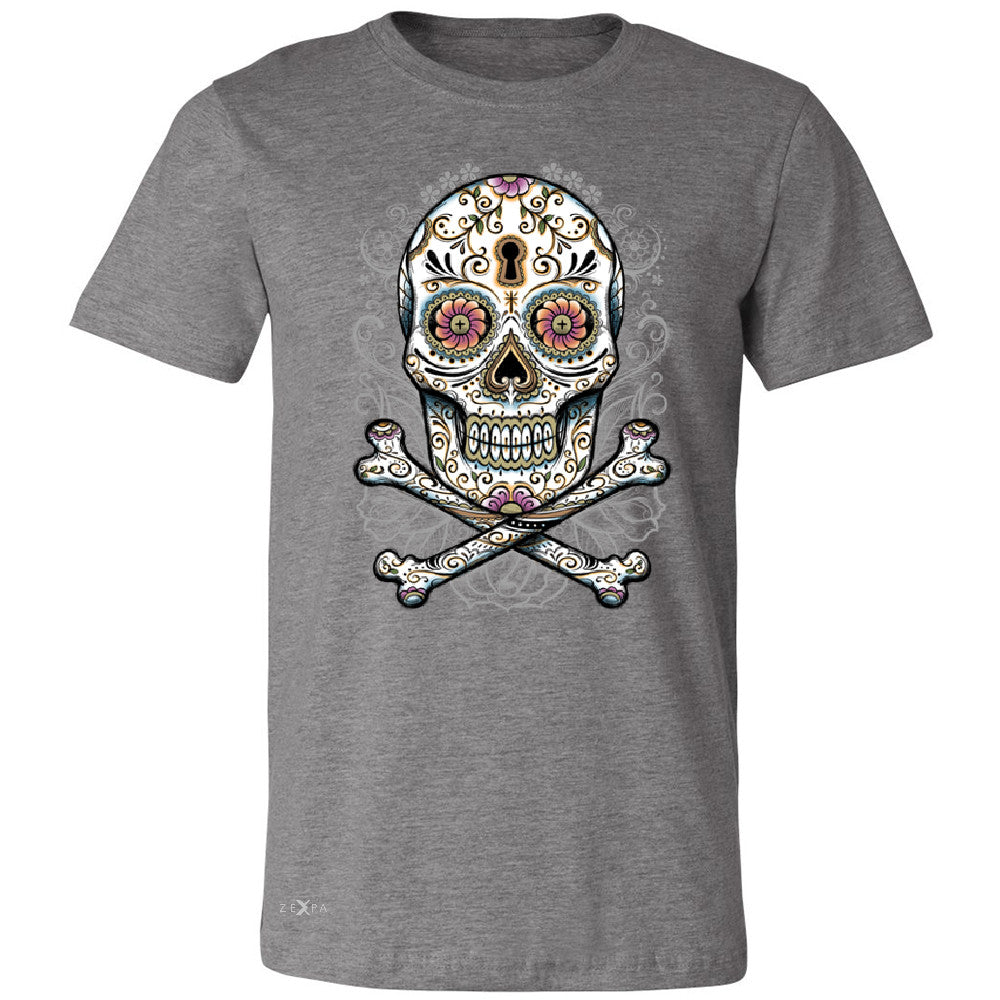 Floral Skull Men's T-shirt Dia de Muertos Sugar Day of The Dead Tee - Zexpa Apparel - 3