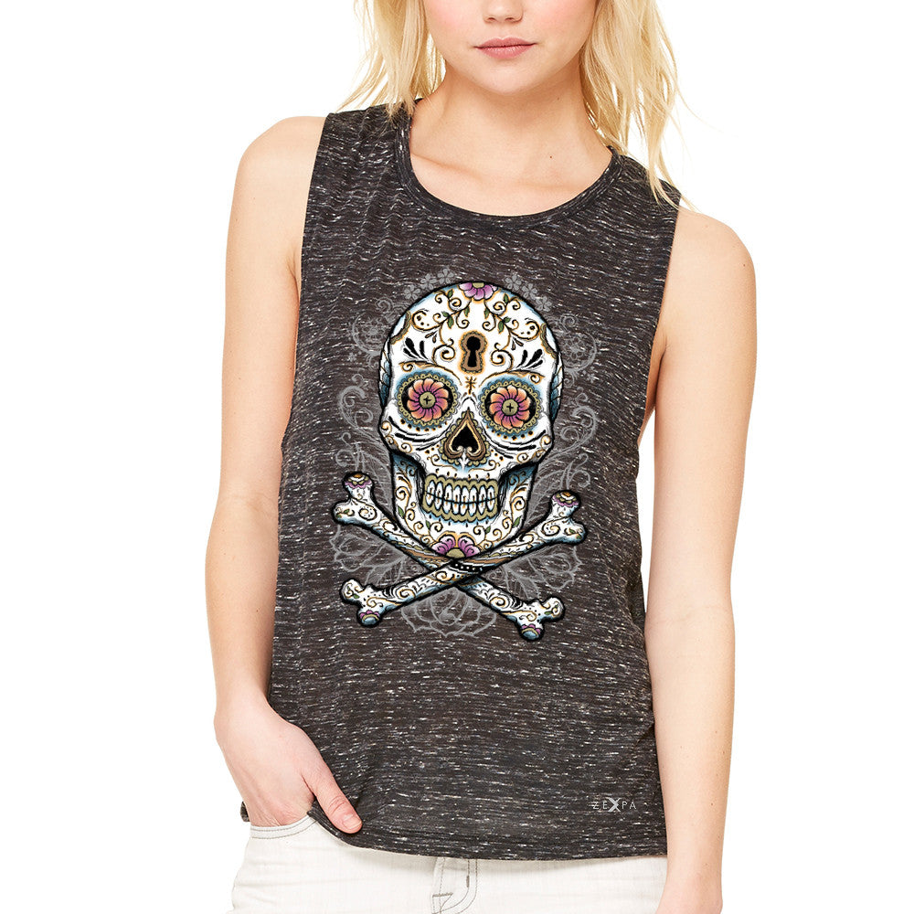 Floral Skull Women's Muscle Tee Dia de Muertos Sugar Day of The Dead Tanks - Zexpa Apparel - 3