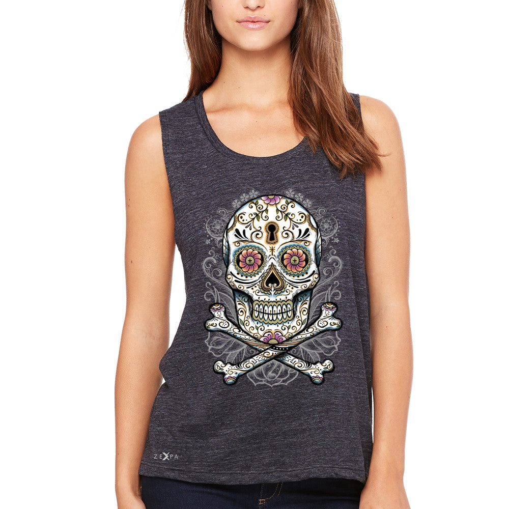 Floral Skull Women's Muscle Tee Dia de Muertos Sugar Day of The Dead Tanks - Zexpa Apparel - 1