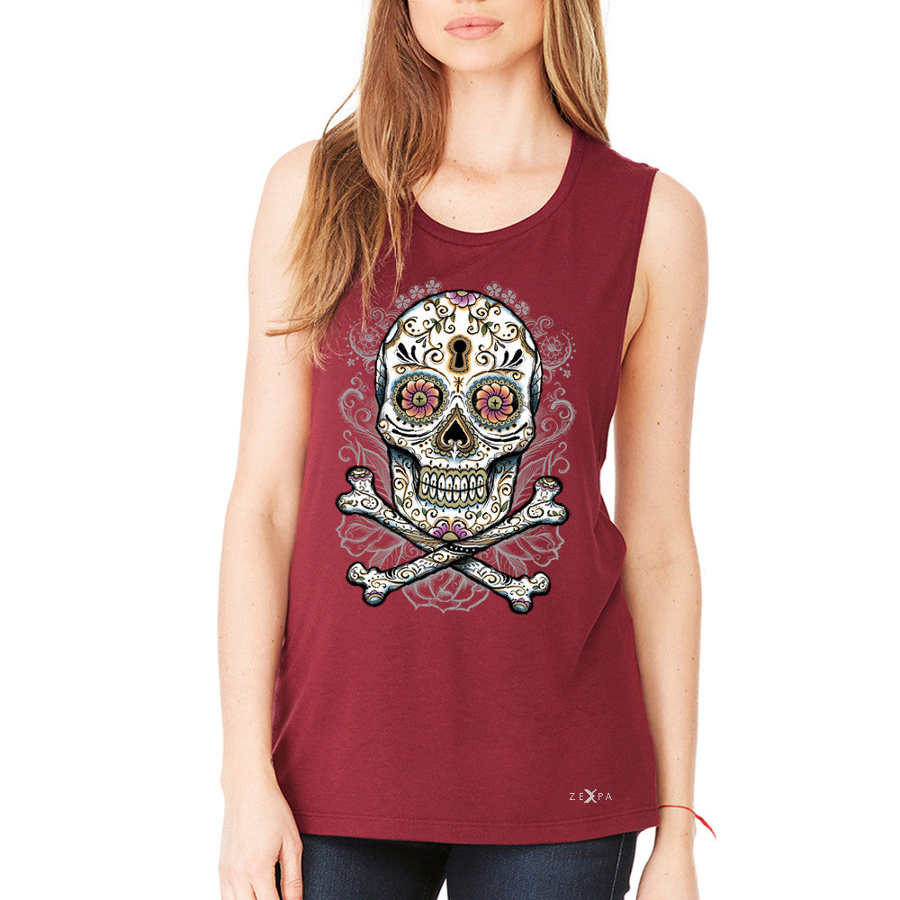 Floral Skull Women's Muscle Tee Dia de Muertos Sugar Day of The Dead Tanks - Zexpa Apparel - 4