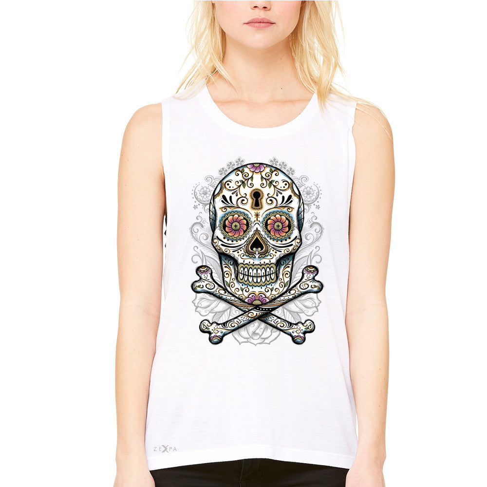 Floral Skull Women's Muscle Tee Dia de Muertos Sugar Day of The Dead Tanks - Zexpa Apparel - 6