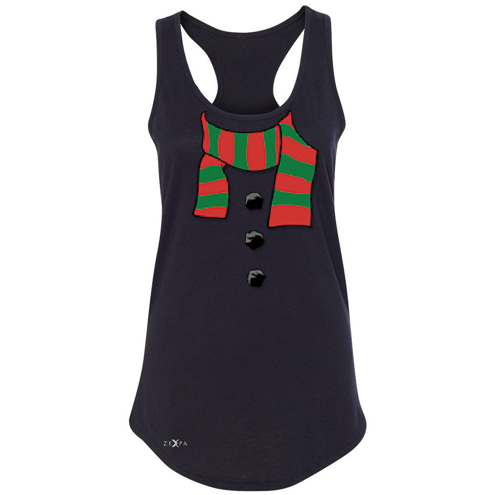 Snowman Scarf Costume Women's Racerback Christmas Xmas Funny Sleeveless - Zexpa Apparel - 1