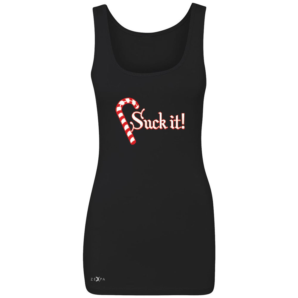 Suck It! Sugar Candy Cane  Women's Tank Top Christmas Xmas Funny Sleeveless - Zexpa Apparel - 1