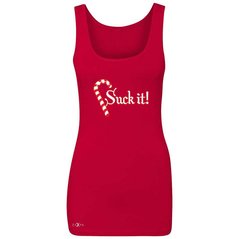 Suck It! Sugar Candy Cane  Women's Tank Top Christmas Xmas Funny Sleeveless - Zexpa Apparel - 3