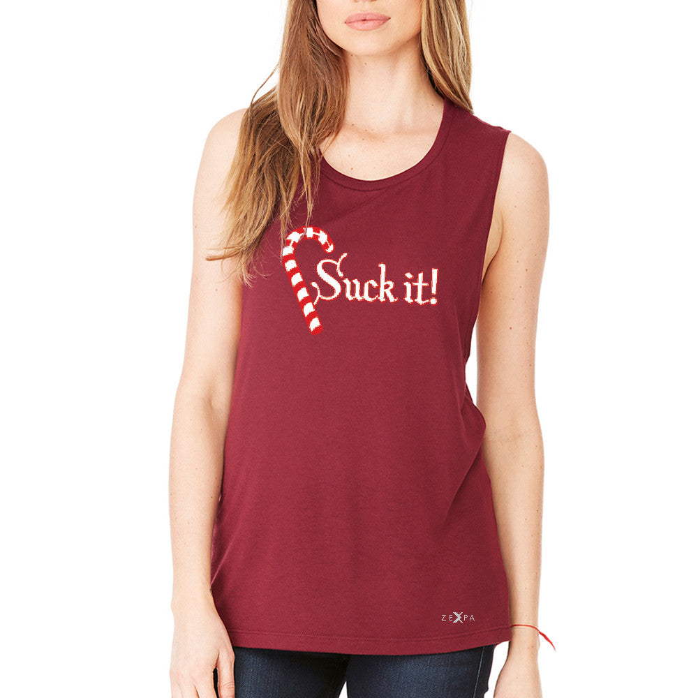Suck It! Sugar Candy Cane  Women's Muscle Tee Christmas Xmas Funny Tanks - Zexpa Apparel - 4
