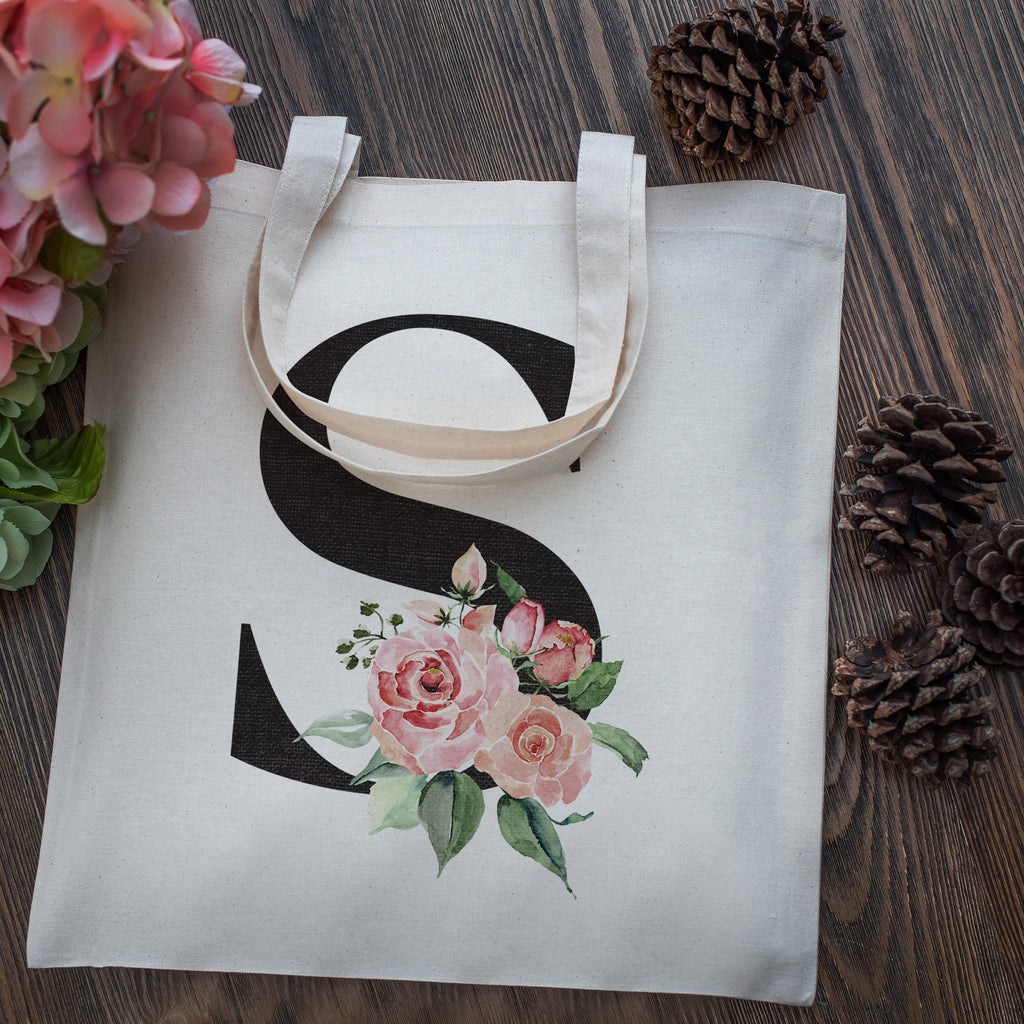 Personalized Floral Initial Cotton Canvas Tote Bag for Events Bachelorette Party Baby Shower Bridal Shower Bridesmaid Christmas Gift Bag | Totes for Yoga Pilates Gym Workout | Reusable Bags for Shool