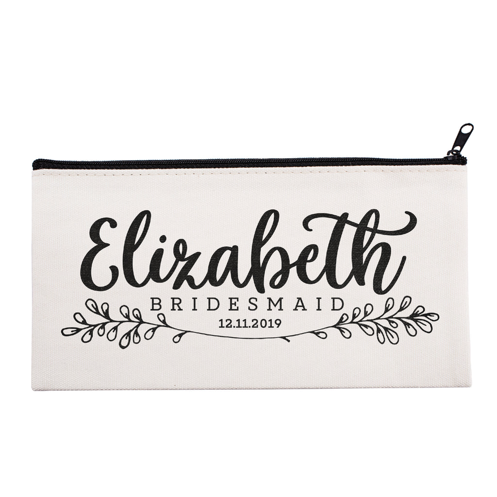 Personalized Makeup Bag Bridesmaid | Wedding Customized Pouch | Bachelorette Party Cosmetic Case |Toiletries Hndy Organizer with Zipper|Events Parties Baby Shower Anniversary Christmas Gift|Desging #19
