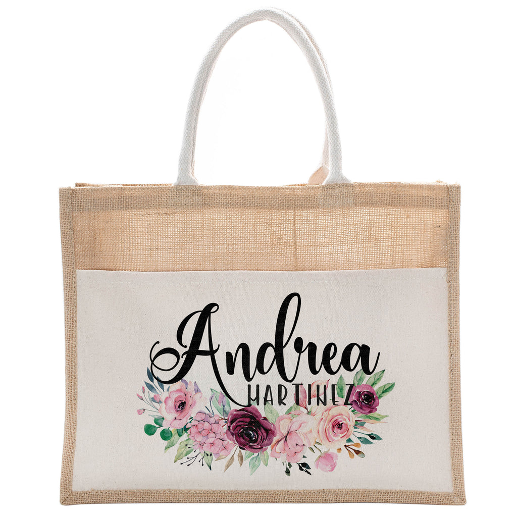 Personalized Luxury Totebag | Cusomized Floral Cotton Canvas Tote Bag For Bachelorette Party Beach Workout Yoga Pilates Vacation Bridesmaid and Daily Use Totes Design #10