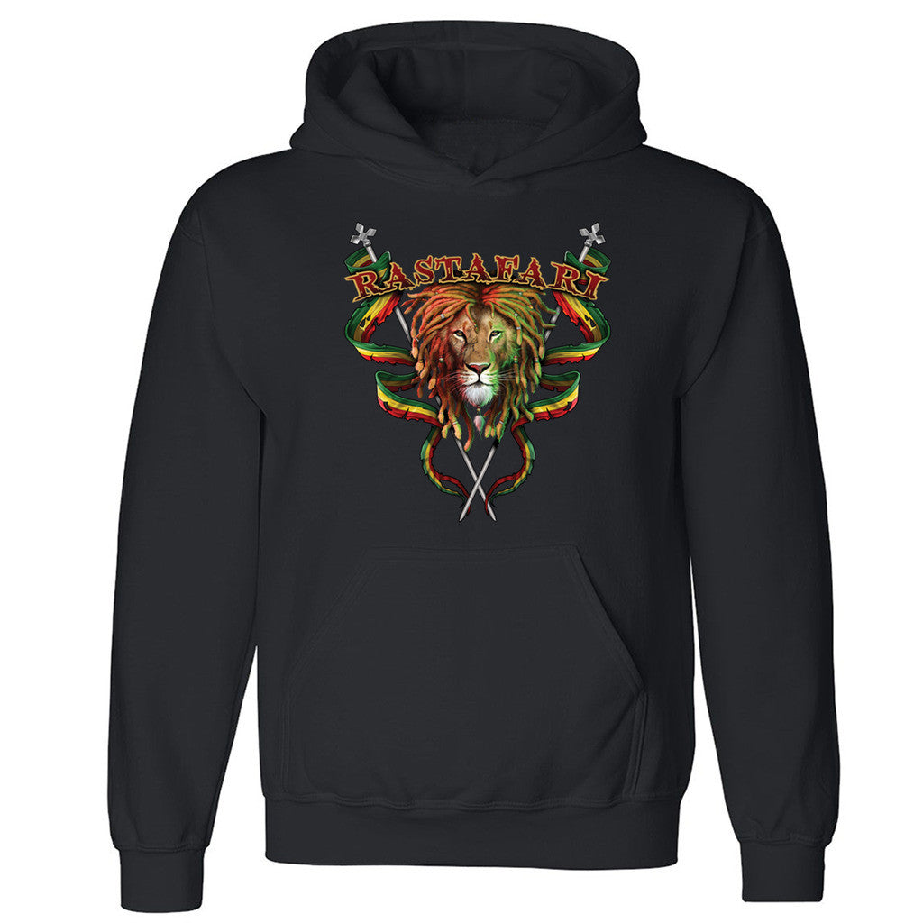 "Zexpa Apparelâ""¢ Rastafari Lion Unisex Hoodie Jamaican Flags Lion Of Judah Hooded Sweatshirt"