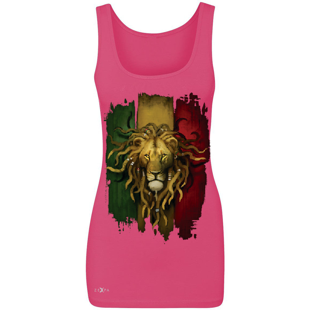 Rasta Lion Dreds Judah Ganja Women's Tank Top Judah Rastafarian Sleeveless - Zexpa Apparel - 2