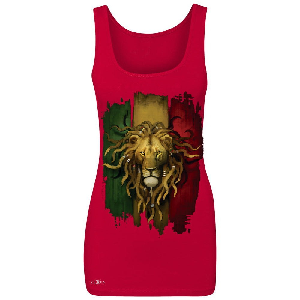Rasta Lion Dreds Judah Ganja Women's Tank Top Judah Rastafarian Sleeveless - Zexpa Apparel - 3