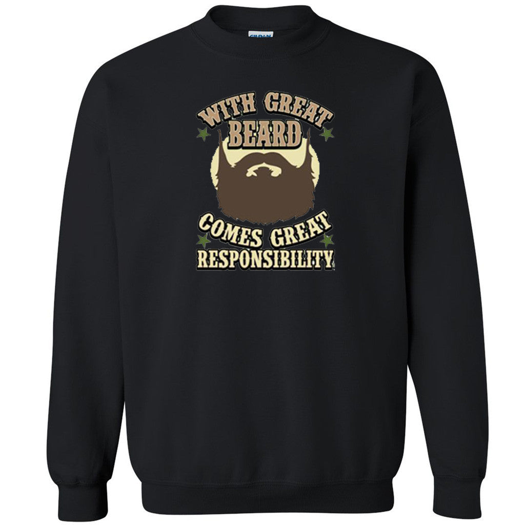 With Great Beard Comes Responsibilities Unisex Crewneck Funny Sweatshirt - Zexpa Apparel