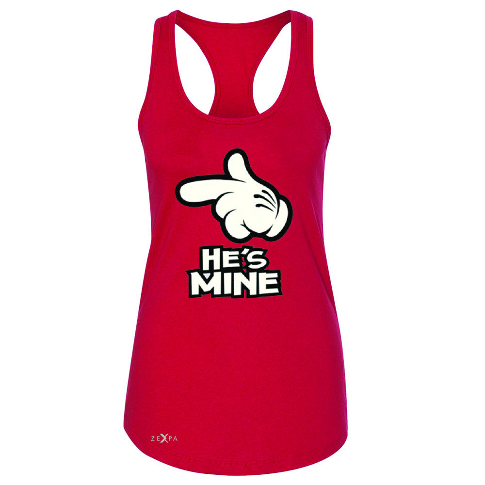 He is Mine Cartoon Hands Valentine's Day Women's Racerback Couple Sleeveless - Zexpa Apparel - 3