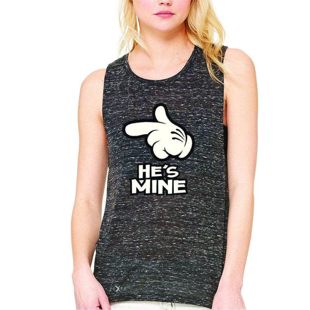 He is Mine Cartoon Hands Valentine's Day Women's Muscle Tee Couple Sleeveless - Zexpa Apparel - 3