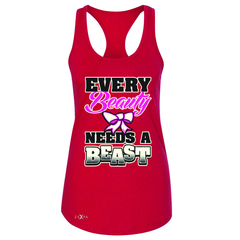 Every Beauty Needs A Beast Valentines Day Women's Racerback Couple Sleeveless - Zexpa Apparel - 3