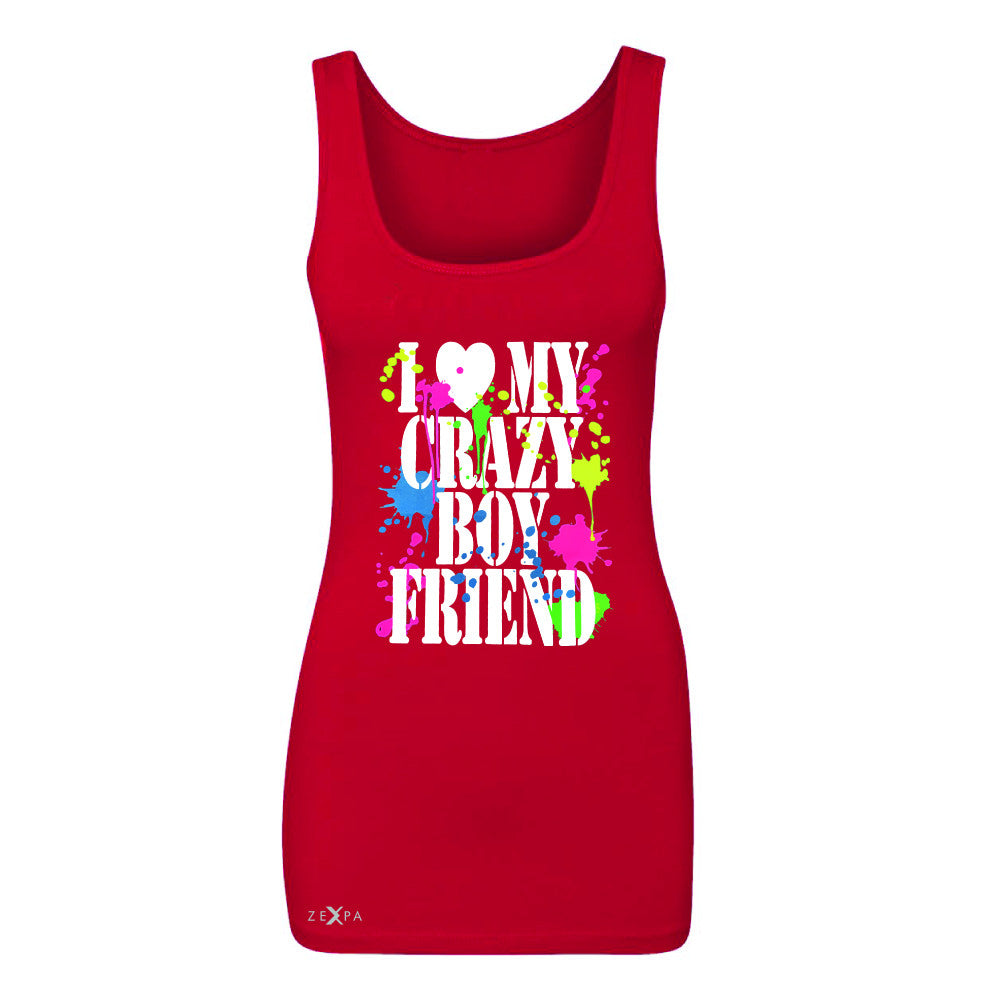 I Love My Crazy Boyfriend Valentines Day Women's Tank Top Couple Sleeveless - Zexpa Apparel - 3