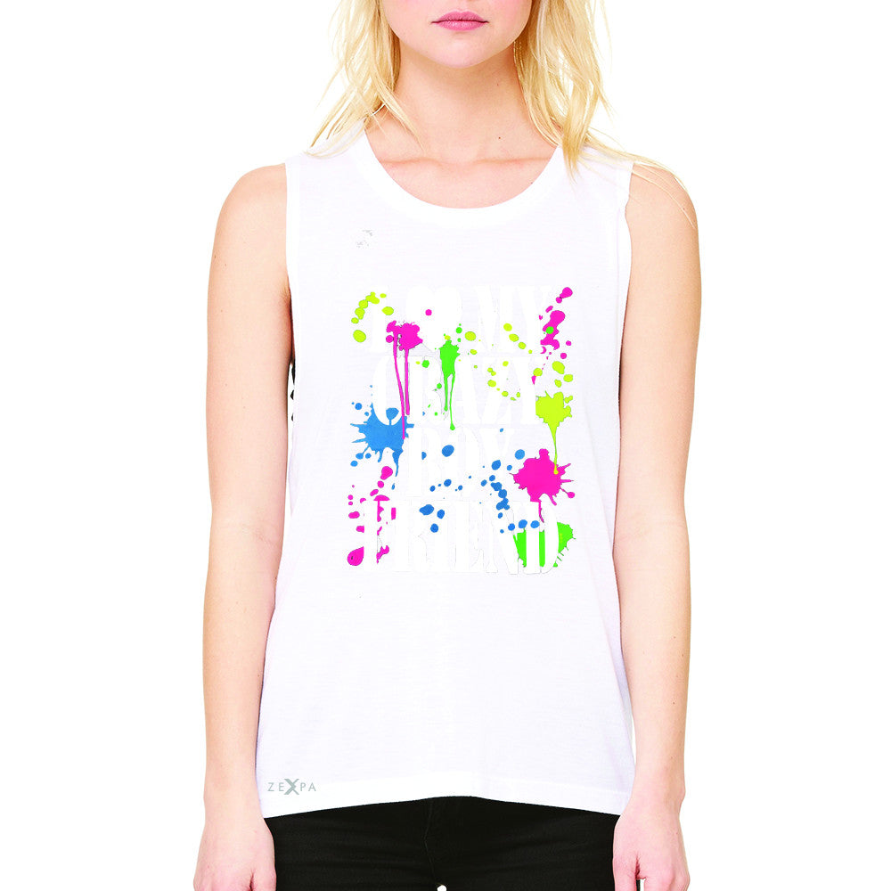 I Love My Crazy Boyfriend Valentines Day Women's Muscle Tee Couple Sleeveless - Zexpa Apparel - 6