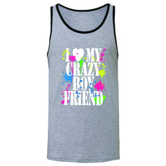 I Love My Crazy Boyfriend Valentines Day Men's Jersey Tank Couple Sleeveless - Zexpa Apparel - 2
