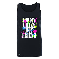 I Love My Crazy Boyfriend Valentines Day Men's Jersey Tank Couple Sleeveless - Zexpa Apparel - 3