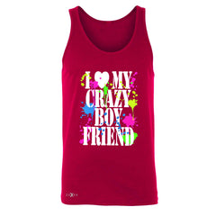 I Love My Crazy Boyfriend Valentines Day Men's Jersey Tank Couple Sleeveless - Zexpa Apparel - 4