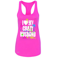 I Love My Crazy Husband Valentines Day Women's Racerback Couple Sleeveless - Zexpa Apparel - 2