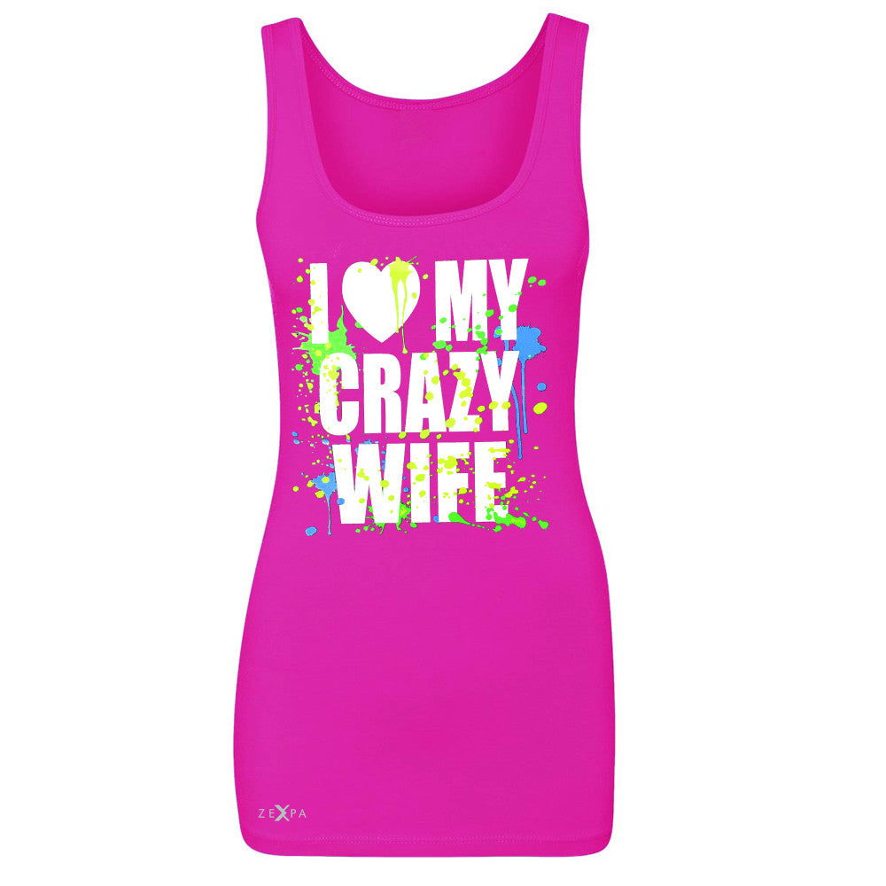 I Love My Crazy Wife Valentines Day 14th Women's Tank Top Couple Sleeveless - Zexpa Apparel - 2