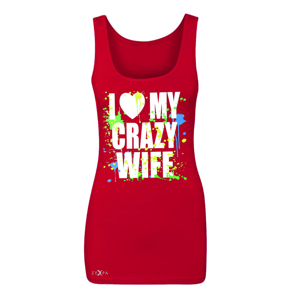 I Love My Crazy Wife Valentines Day 14th Women's Tank Top Couple Sleeveless - Zexpa Apparel - 3