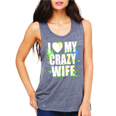 I Love My Crazy Wife Valentines Day 14th Women's Muscle Tee Couple Sleeveless - Zexpa Apparel - 2