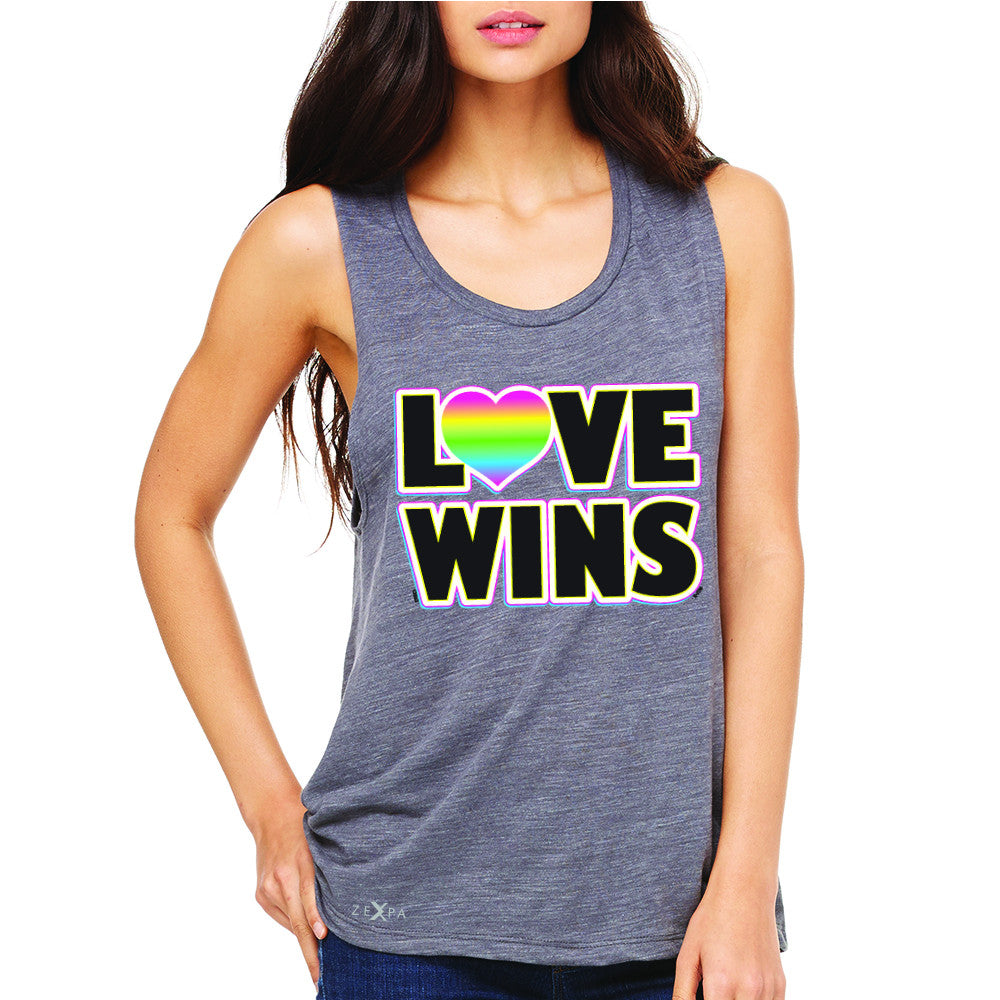 Love Wins - Love is Love Gay is Good Women's Muscle Tee Gay Pride Sleeveless - Zexpa Apparel - 2