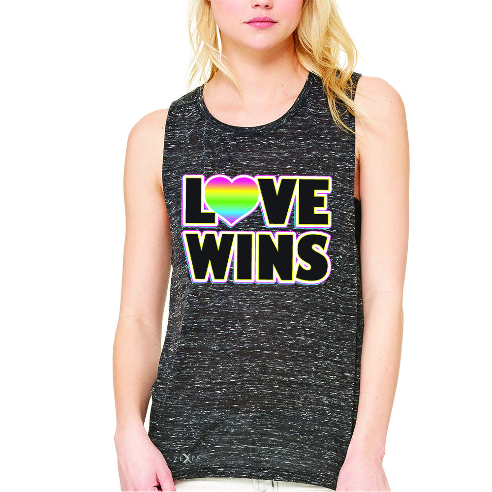 Love Wins - Love is Love Gay is Good Women's Muscle Tee Gay Pride Sleeveless - Zexpa Apparel - 3