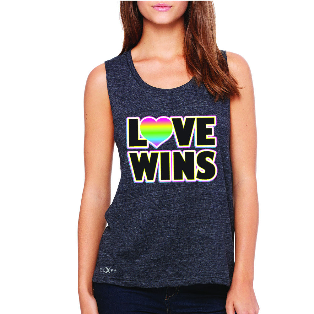 Love Wins - Love is Love Gay is Good Women's Muscle Tee Gay Pride Sleeveless - Zexpa Apparel - 1