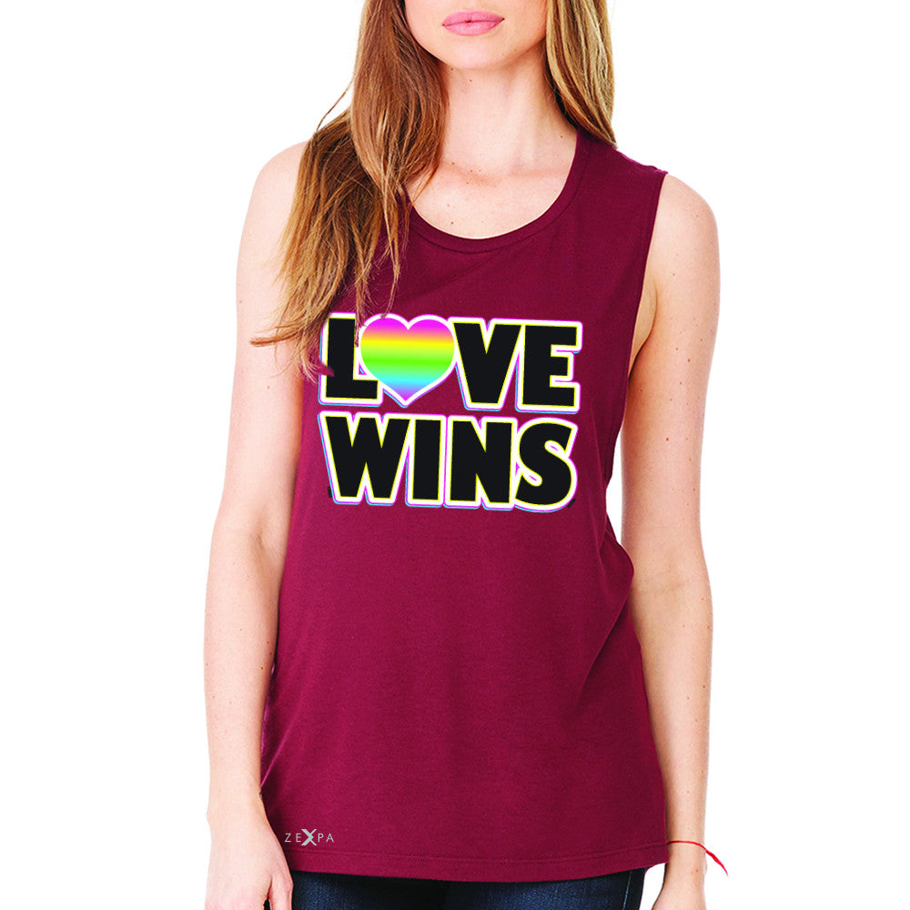 Love Wins - Love is Love Gay is Good Women's Muscle Tee Gay Pride Sleeveless - Zexpa Apparel - 4